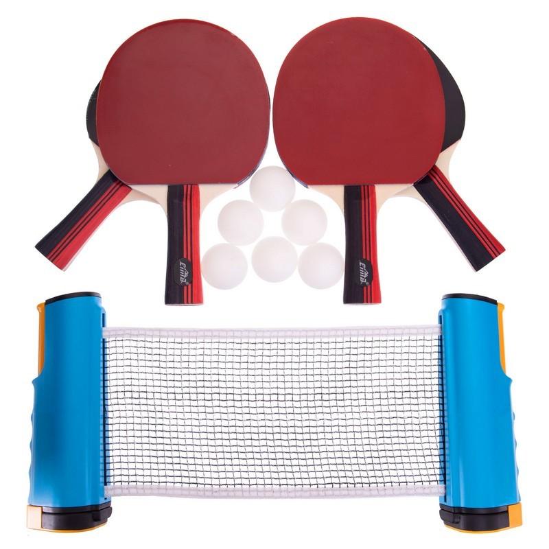 Набор для настольного тенниса cima 2857: 4 ракетки + 6 мячей + сетка с креплением с чехлом фото №1