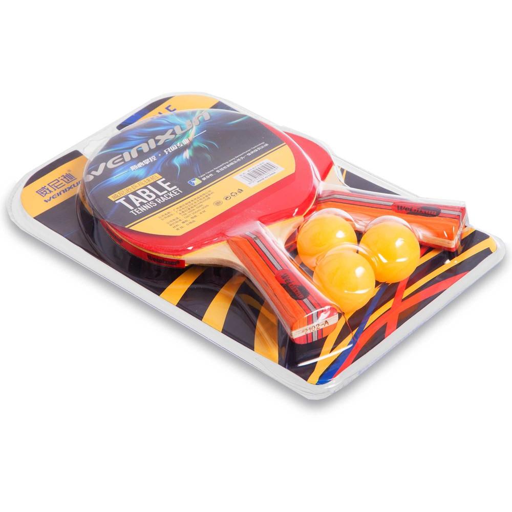 Набор для настольного тенниса weinixun 2102: 2 ракетки + 3 мяча фото №1