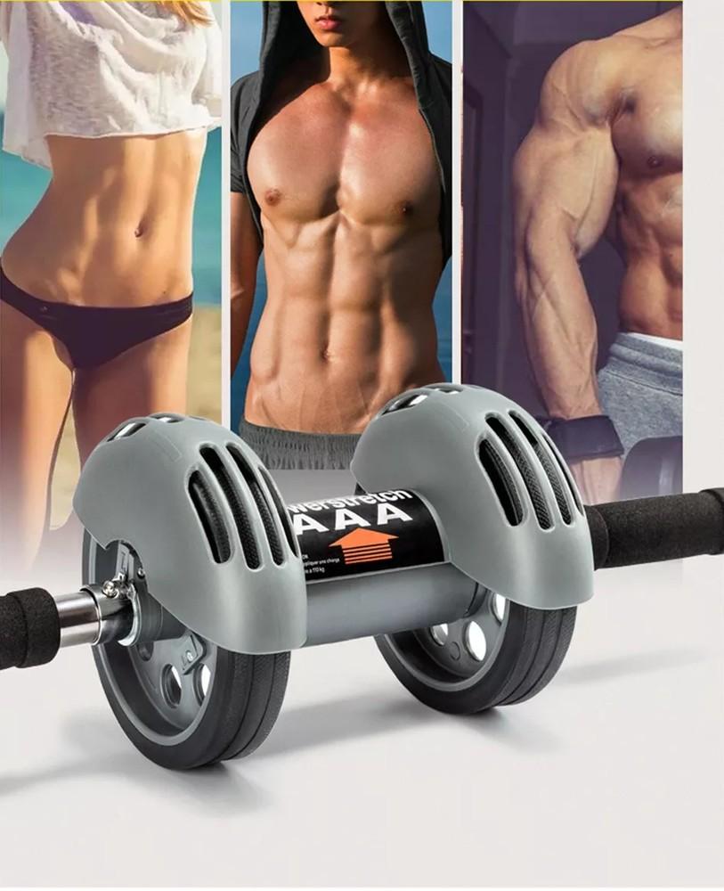 Тренажер колесо - ролик с возвратом для пресса power stretch roller фото №1