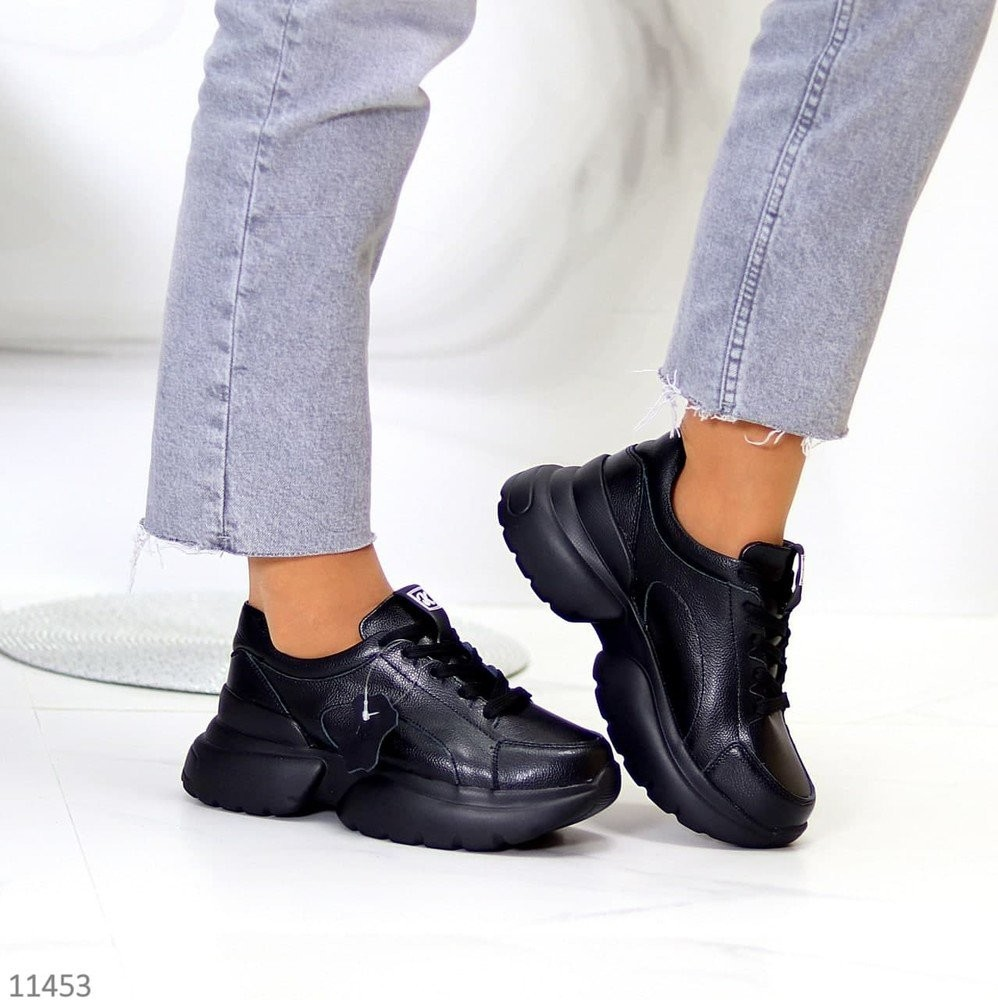 Черные кожаные кроссовки, демисезонные кроссовки, красовки кожаные кросівки 36-41р код 11453 фото №1