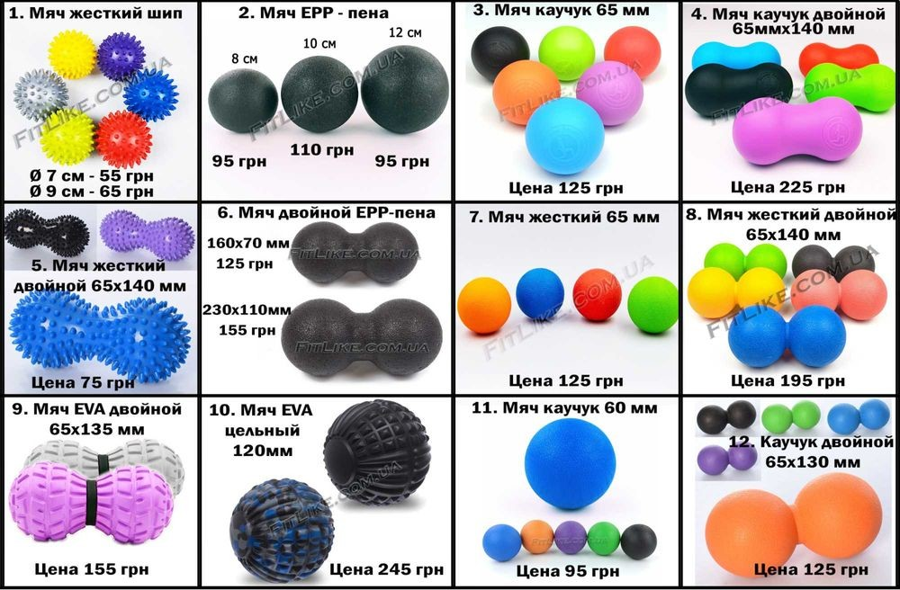 Мячик для массажа миофасциальный роллер, валик, ролик, массажный мяч фото №1